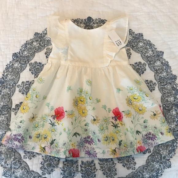 Baby Gap Botanical Floral Dress Ruffle Toddler NWT